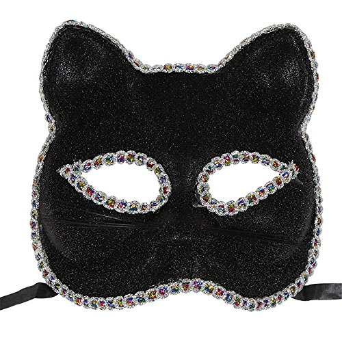 Mardi Gras Party Masquerade Mask,Venice mask Christmas Halloween mask cat face Painted mask Black Prom Masks]()