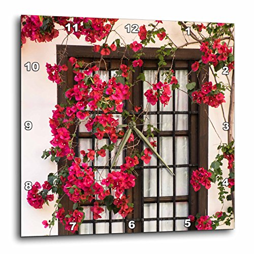3dRose Danita Delimont - Flowers - Spain, Andalusia. Cordoba. Red bougainvillea and house window. - 13x13 Wall Clock (dpp_277893_2) by 3dRose