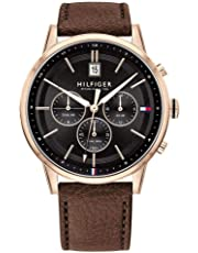 Tommy Hilfiger Multi-function Dark Brown Leather Men's Watch - 1791631