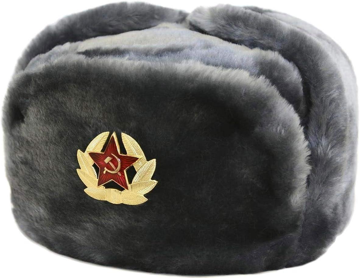 SIBERHAT Russian Soviet Army Fur Military Cossack Ushanka Hat (Gray, 62/XL)