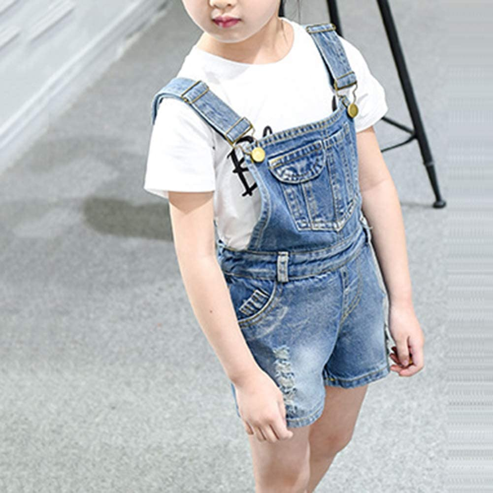 3-10 Years Digirlsor Girls Little Big Kids Denim Bib Overalls Romper Jumpsuit Boyfriend Ripped Jeans Shortalls