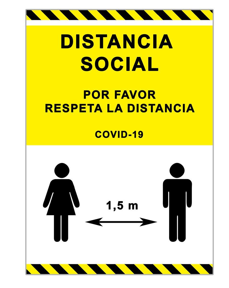 Señalización Coronavirus   Cartel Distancia Social 1,5 metros para empresas, oficinas o lugares públicos   Señal COVID-19 Autoinstalable   21 x 30 cm   Descuentos por Cantidad