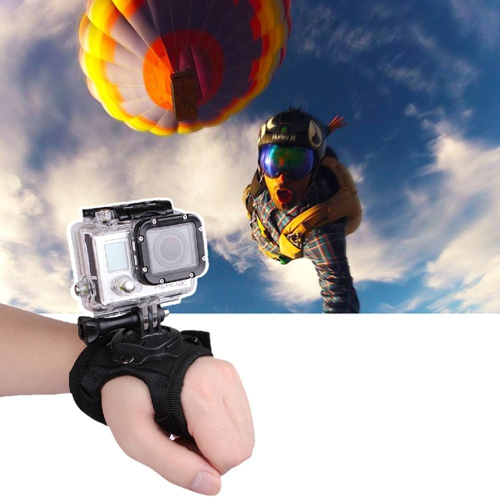 Glove Style Hand Mount Strap Wrist Band Holder for GoPro Hero GoPro Accessories Hero 3 Hero 4 Hero 5 Hero 6 Black Digital Camera 360 Degree Rotation Action Scuba Snorkeling Hiking Skydiving