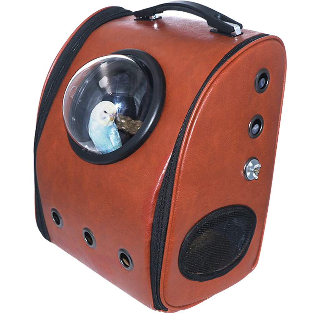 Creation Core Bird Carrier with Wooden Stand Bird Travel Cage Leather Pet Travel Carrier Parrot Supplies, 13 x 9.8 x16.5 in by Creation Core