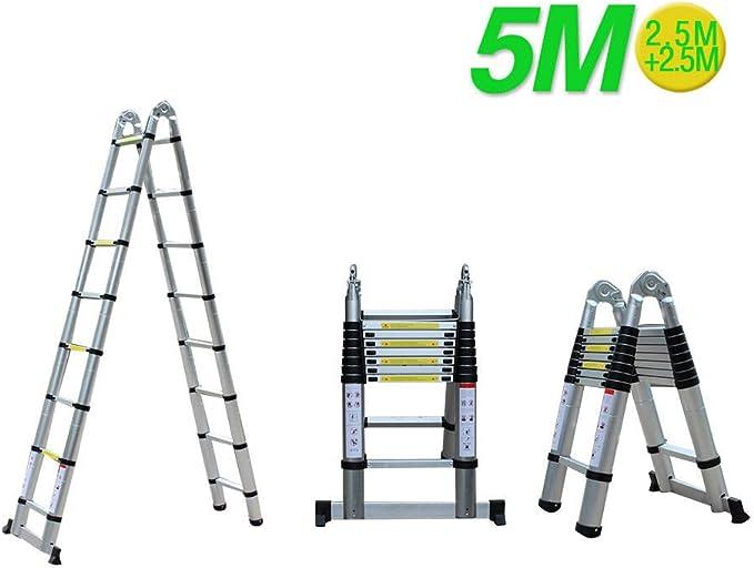 5 m metros de aluminio escalera – Escalera telescópica multiusos Escalera – Escalera caballete Escalera de: Amazon.es: Bricolaje y herramientas