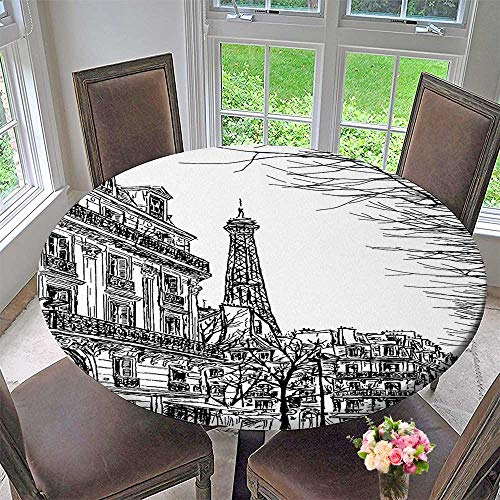 Mikihome Picnic Circle Table Cloths Collection Sketch of Parisian Street with Trees and Eiffel Famous City Scenery Architectural for Family Dinners or Gatherings 63