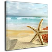 Janvonne Beach Sea Shells Starfish Canvas Wall Art Decor Framed Oil Paintings Pictures Modern Decorations Living Room Bedroom Bathroom Home Decor (A4)