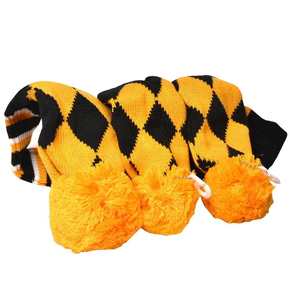 GOOACTION Drivers, Fairway Woods, Hybrids 3pcs Yellow and Black Checkered Pattern Pom Pom Sock Set Vintange Knit Universal Golf Head Covers Fit for All Golf Brands by GOOACTION
