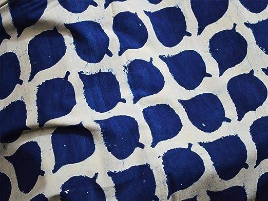 Tela de algodón azul índigo con impresión de hojas, estampada a mano, de algodón teñido a mano: Amazon.es: Juguetes y juegos