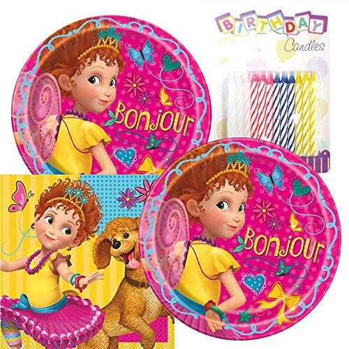 Fancy Nancy Themed Party Pack - Includes Paper Plates & Luncheon Napkins Plus 24 Birthday Candles - Serves 16
