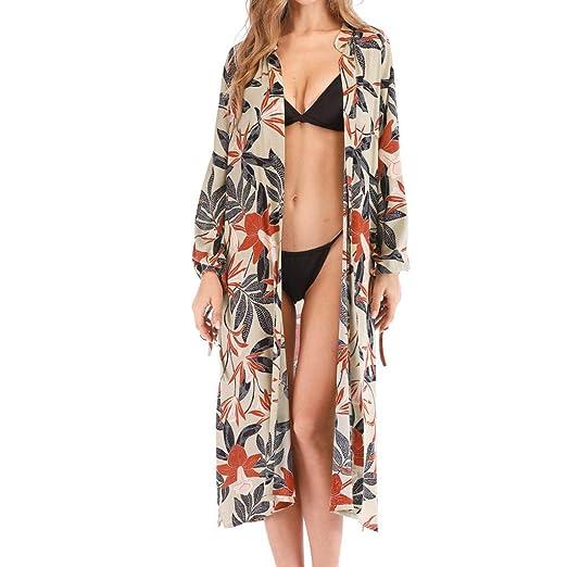 ef645f07ff NUWFOR Women Summer Chiffon Print Bikini Cover Up Beach Sunscreen Cardigan  Beachwear(Green,Free