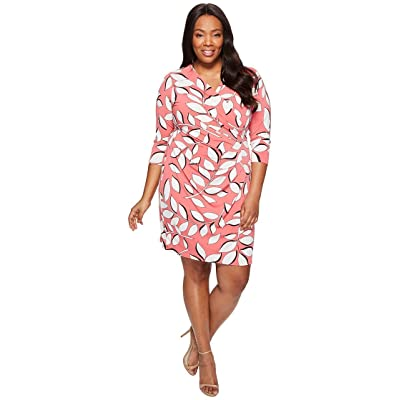 Adrianna Papell Plus Size Women's V Neck 3/4 Sleeve Wrap Dress, Red/Multi, 3X at Amazon Women's Clothing store