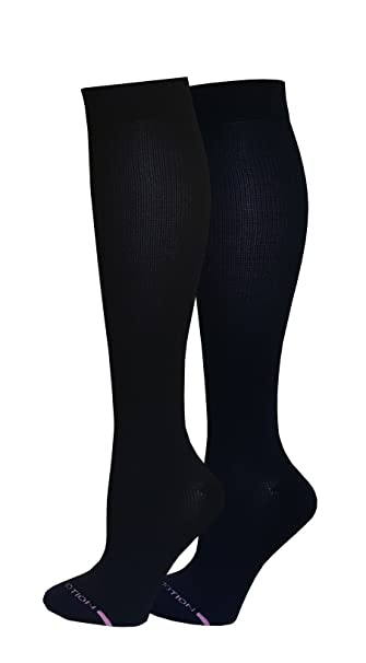 e98e0635d5a Amazon.com  2 Pairs Women Cushioned Comfort Dr Motion Graduated Support  Compression Knee High Socks 9-11 (Black