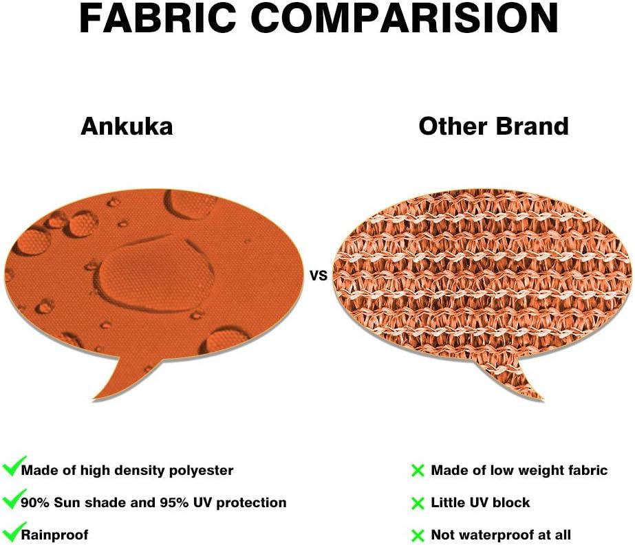 Ankuka Waterproof 8 x 10 Sun Shade Sail Canopy Rectangle Black UV Block for Outdoor Patio and Garden Yard Activities