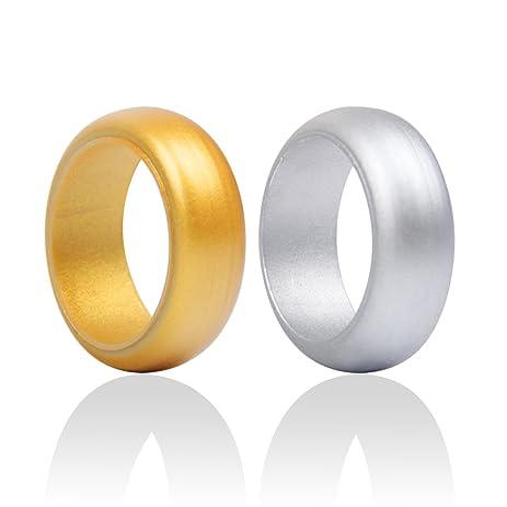 Amazon Com Men S Silicone Wedding Ring Band Designs Gold Silver