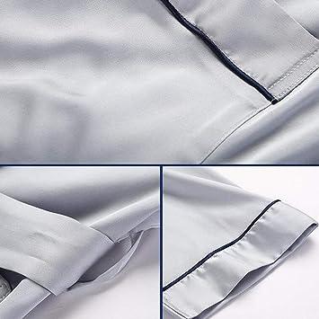 XQY Pijamas cómodos para el hogar Tienda de algodón con Bolsillos Albornoz - Batas de baño Hombre Verano Poliéster ...