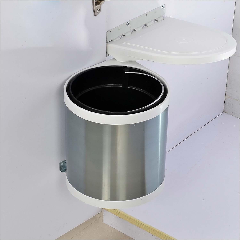 OOFYHOME Built-in Covered Trash can, Stainless Steel Kitchen Built-in Trash cabinets Hidden Open Door Hanging Door