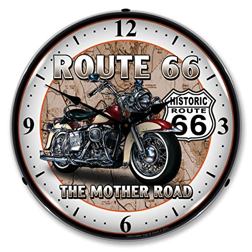 Collectable Sign and Clock - Rustic Route 66 wall decor