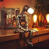 ADFD Vintage industriële tafellamp Steampunk robot bureaulamp rustieke waterpijp bureaulamp (zonder gloeilamp)