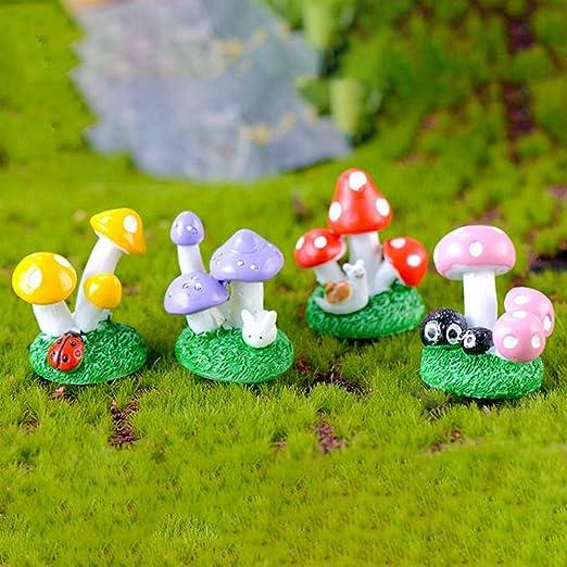 KWOSJYAL 4 Unids/Set Cute Mushroom Clump Musgo Micro Paisaje Jardín Miniaturas Adornos De Resina De Hadas Estatuilla Decoración De Bonsai: Amazon.es: Jardín