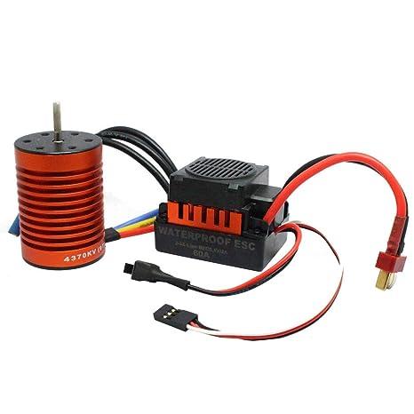 Amazon com: Fancy96 9T 4370KV Brushless Motor + 60A ESC