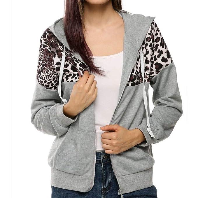Linlink Mujeres otoño Invierno con Estampado de Leopardo de impresión Chaqueta Sudadera con Capucha suéter Abrigo con Capucha Sudaderas: Amazon.es: Ropa y ...