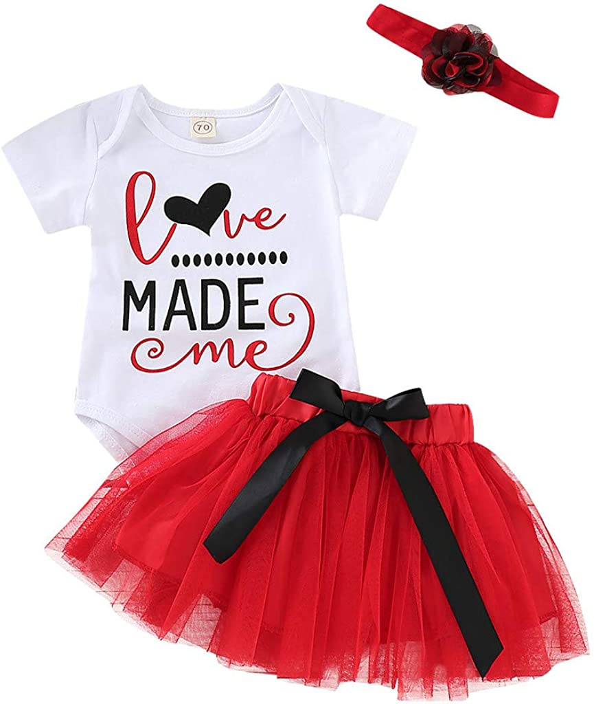 First Valentines Day Toddler Newborn Kids Baby Girls Clothes,Romper+Tiered Dress+Floral Headband