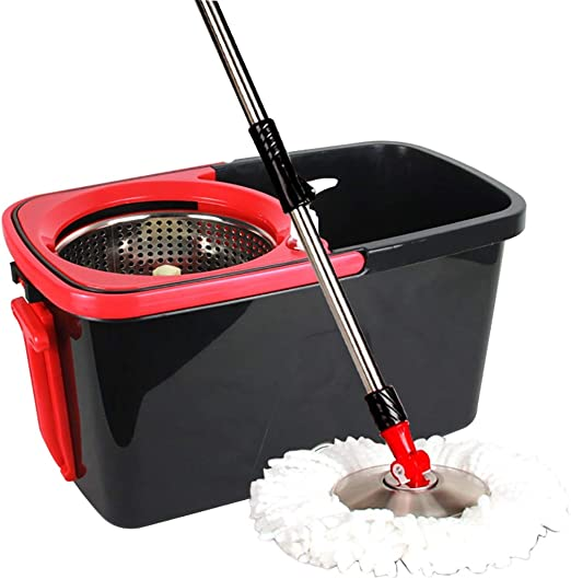 Aifulai Spin Mop Bucket System Easy Wringer Spinning Mop con Cesta ...