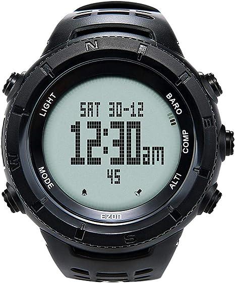 EZON H001H11 - Reloj Inteligente Deportivo con Alarma de brújula Resistente al Agua para Escalada para Hombres y Mujeres