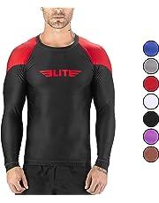 Elite Sports BJJ Jiu Jitsu Rash Guards, Men's BJJ, No GI, MMA Ranked Full Sleeve Compression Rash Guard