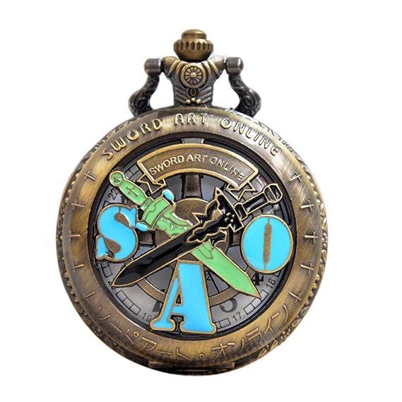 Hueca Bronce Espada Art Online Retro Reloj de Bolsillo de Cuarzo Collar Cadena Colgante P194