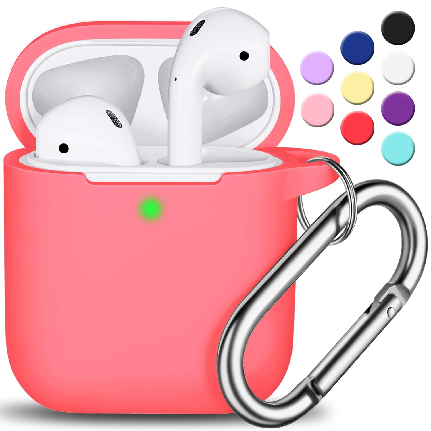 Full Protective Silicone AirPods Accessories Skin Cover for Women Girl with Apple AirPods Wireless Charging Case,Front LED Visible-Pink AirPods Case Cover with Keychain
