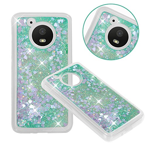 Moto E4 (US Version) Case, NOKEA Soft TPU Flowing Liquid Floating Luxury Bling Glitter Sparkle Case Cover Fashion Design for Moto E4 (US Version) (Green)