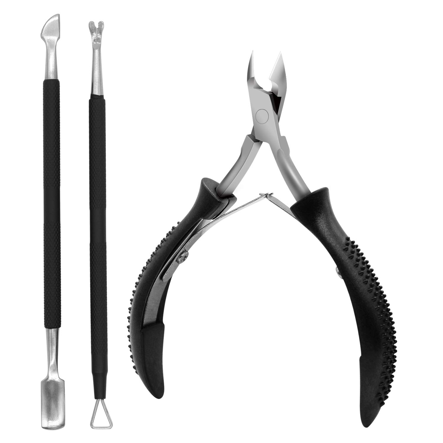 3PCS Anti-slip Handle Cuticle Trimmer with Cuticle Pusher and Triangle Cuticle Nail Pusher Peeler Scraper,Professional Stainless Steel Cuticle Nipper Set for Fingernails Toenails: Beauty