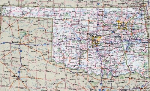 OKLAHOMA STATE ROAD MAP GLOSSY POSTER PICTURE PHOTO BANNER OK highway city ()
