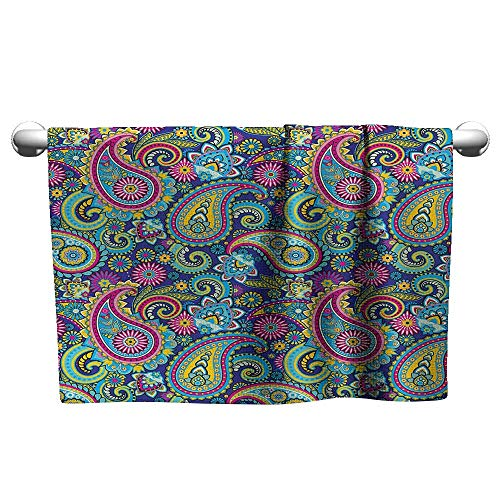 alisoso Paisley,Best Bath Towels Ornate Traditional Paisley Elements with Ethnic Details Bohemian Home Decor Print Microfiber Towels for Body Multicolor W 35