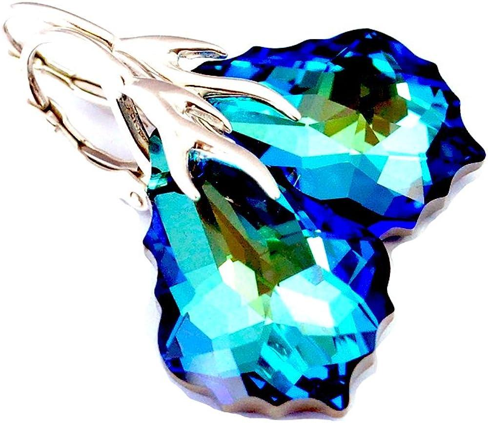 Crystals & Stones * * * bañada Baroque * 22MM Color * Bermuda Blue * Bonito Pendientes–Pendientes con Cristales de Swarovski Elements–Fantástica Pendientes con caja de regalo pin/75