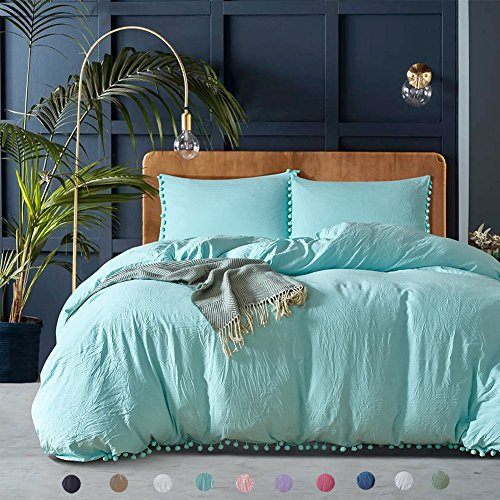 Pom poms Fringe Duvet Cover Set Meaning4 Polyester Twin Size Turquoise Blue 2 pcs(1 duvetcover + 1 pillowcase)