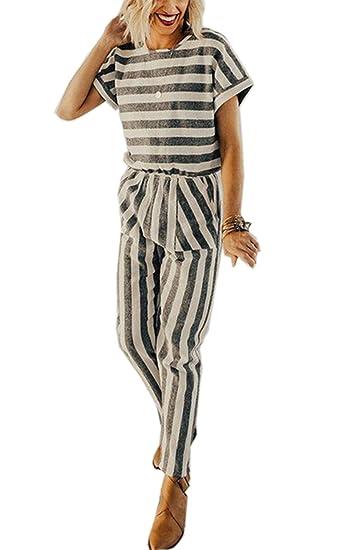 Amazoncom Asskdan Womens Elegant Rompers Jumpsuits Lang Striped