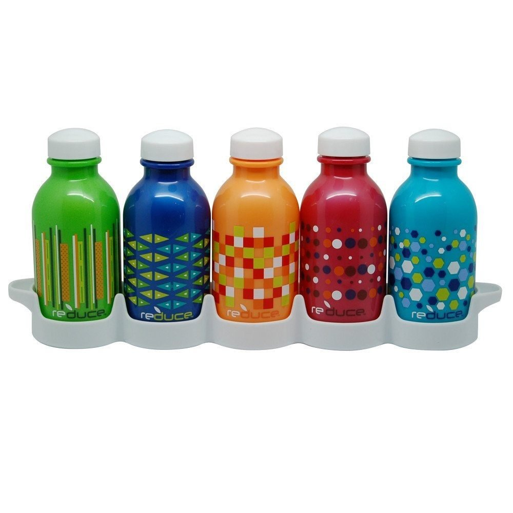 REDUCE WaterWeek Kids Reusable Water Bottles with Bottle Set Fridge Tray – Fill with Cold Drinks, Ideal for School Lunchboxes – 5pk, 10oz– BPA-Free Plastic, Leak-Proof Twist Cap – Assorted Colors