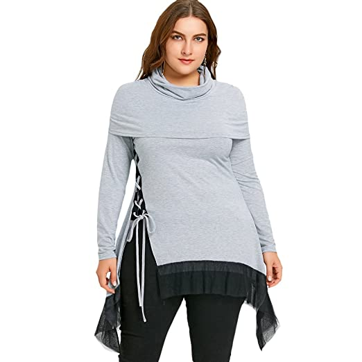 a6ef055ffe6 DEZZAL Women s Plus Size Long Sleeve Cowl Neck Lace up Sharkbite Hem Tunic  Top at Amazon Women s Clothing store