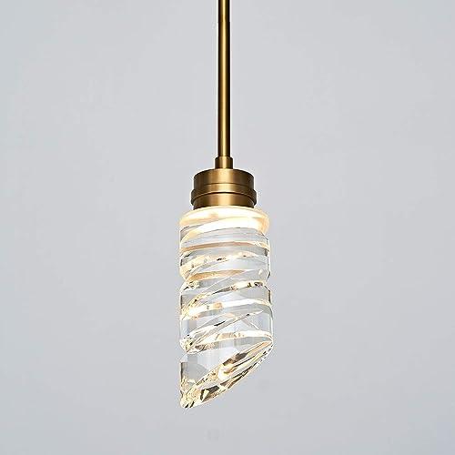 MOTINI 1-Light Modern Crystal LED Pendant Light, Gold Brushed Brass Hanging Pendant Lighting Fixture for Kitchen Island Dining Room Bedroom