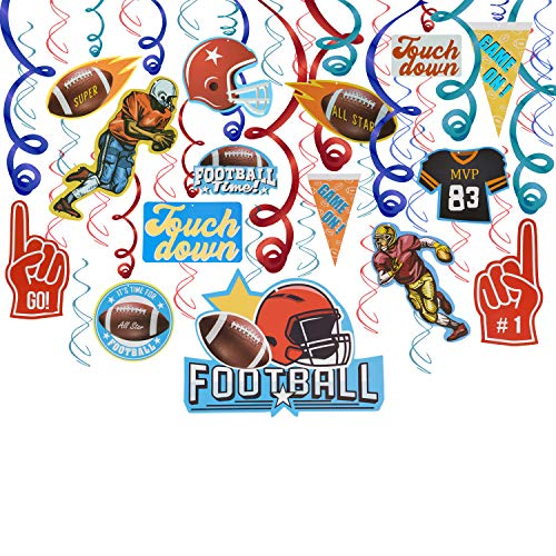 Super Bowl Decoration Hanging Swirls(30Pack),Konsait Football Game Day Touch Down Party Supplies Pack Bundle for Kids Men Football Party Home Decor Frenzy Birthday Party Favor Supplies