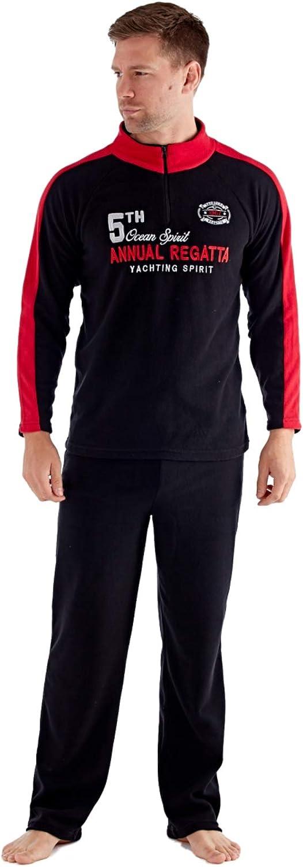 Harvey James Mens Yachting Regatta Fleece Funnel Neck Long Sleeve Pyjamas Set