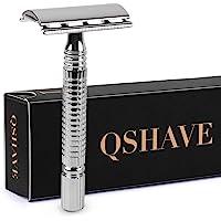 Qshave Men's Short Handle Classic Double Edge Safety Shaving Razor, 1 Pc
