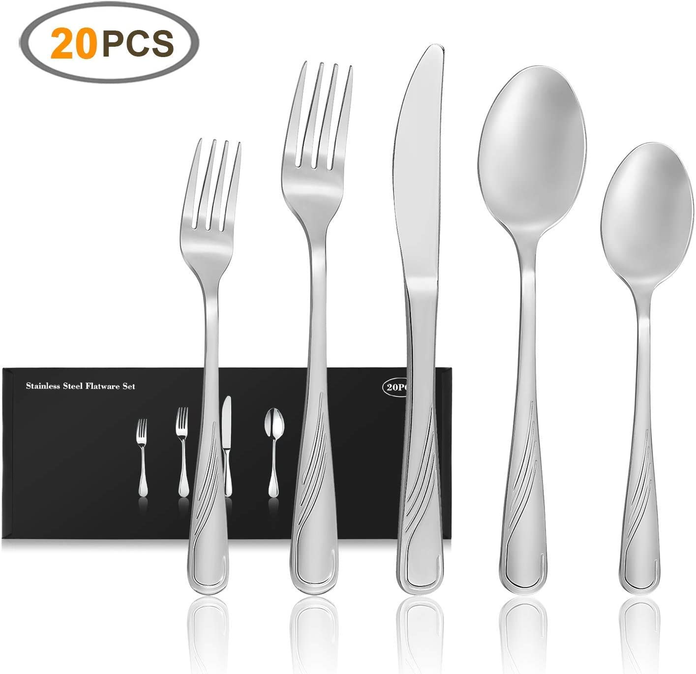 20-Piece Silverware Set, JOW Stainless Steel Flatware Set Service for 4, Tableware Cutlery Set for Home and Restaurant, Knives Forks Spoons, Mirror Polished, Dishwasher Safe (Silver)