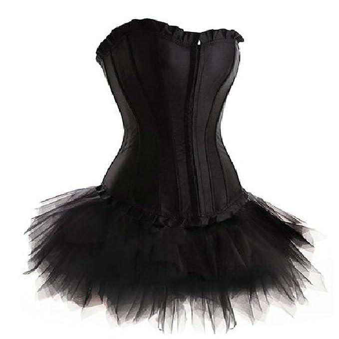 1cfb9aa15 Grebrafan Negro Sin Tirantes Corsés Conjunto de Corset y Falda Tutú De Tul
