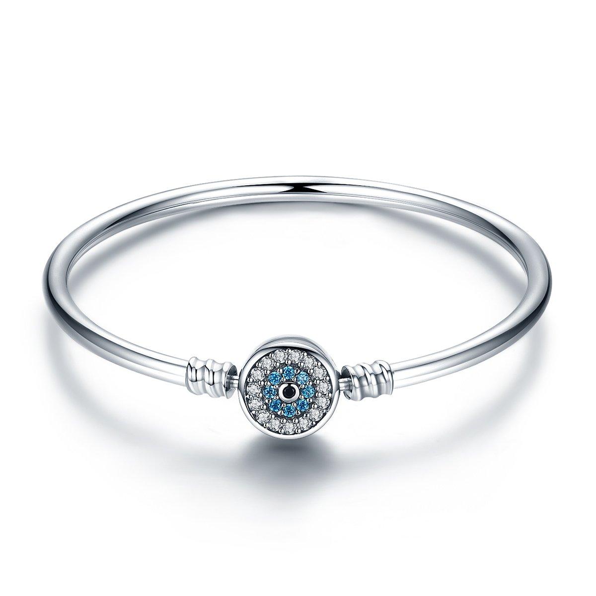 BISAER Evil Eye Bracelet Clasp Charm Bangle Bracelet For Bead Charms with Sapphire Gemstones Evil Eye Clip Lock Stopper(19cm/7.5inch)