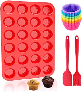 Muffin Pans Nonstick Silicone Mini 24 Cups with Cupcake Liners Brush Spatula Value Set Reusable Baking Pans Food Grade Regular Size Molds for Toaster Oven (24 Cups-Red)