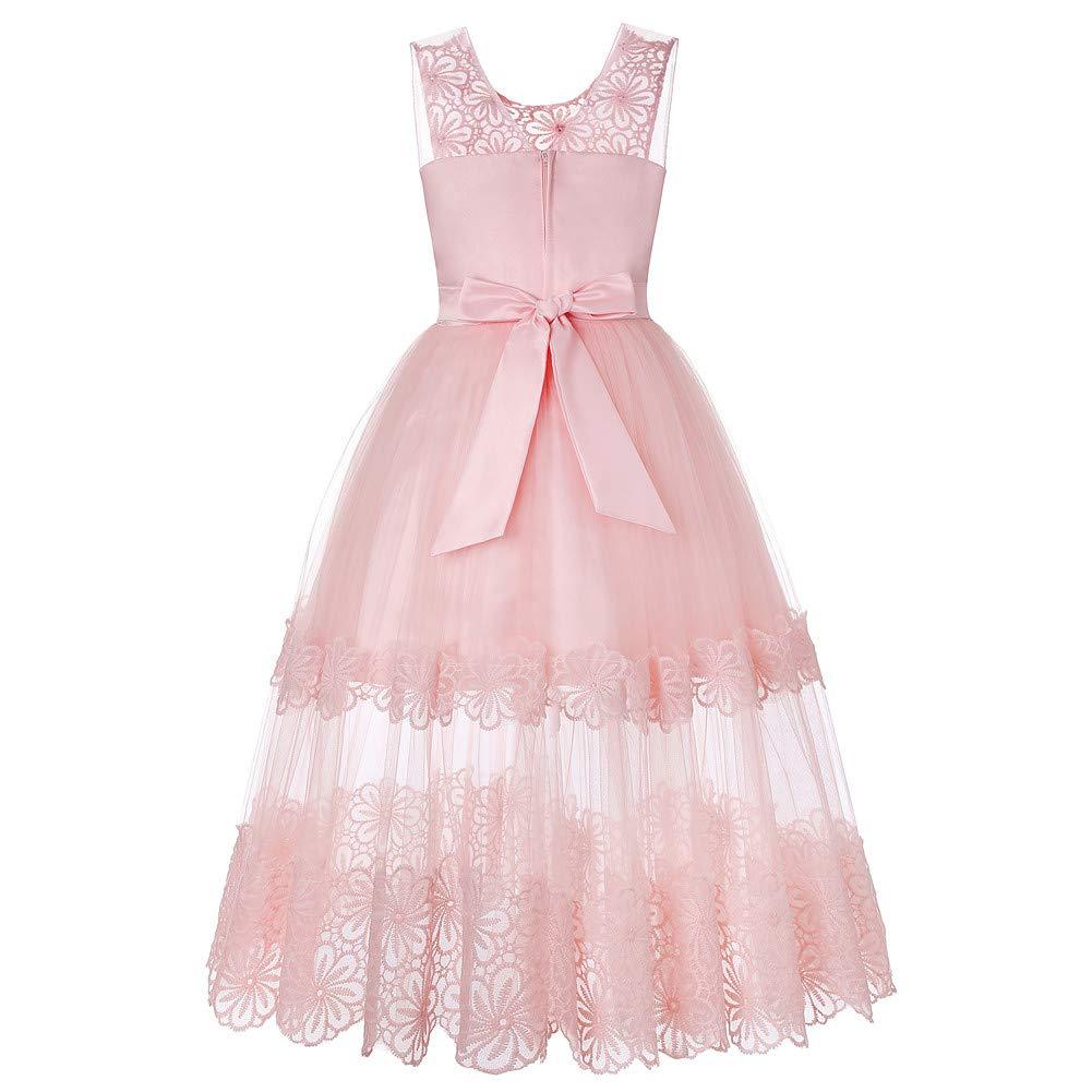 YFCH Vestito Floreale Bambina Matrimonio Principessa Vestito Ragazza Elegante Estivo Abiti Bambina da Cerimonia 4-13 Anni